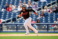 Nashville Sounds designated hitter Renato Nunez (34) running the bases during a game against the New Orleans Baby Cakes on May 1, 2017 at First Tennessee Park in Nashville, Tennessee.  Nashville defeated New Orleans 6-4.  (Mike Janes/Four Seam Images)