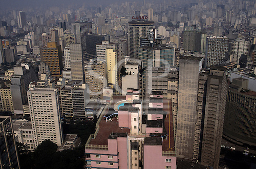 Sao Paulo, Brazil. Low oblique aerial view of high-rise buildings in the city centre.
