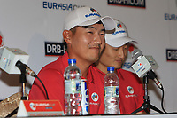 Sunghoon Kang (Asia) and Li Haotong (Asia) during an interview after the Friday Foursomes of the Eurasia Cup at Glenmarie Golf and Country Club on the 12th January 2018.<br /> Picture:  Thos Caffrey / www.golffile.ie
