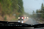 Driving in rainy weather near Flathead Lake, Montana