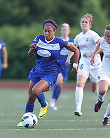 Boston Breakers forward Sydney Leroux (2) on the attack.  In a National Women's Soccer League (NWSL) match, Boston Breakers (blue) defeated Sky Blue FC (white), 3-2, at Dilboy Stadium on June 30, 2013.