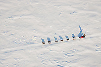 Aerial of Lance Mackey on Golovin Bay on his way toward White Mountain during the 2010 Iditarod