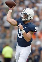 STATE COLLEGE, PA - SEPTEMBER 1: Penn State QB Trace McSorley (9) throws from the pocket. The Penn State Nittany Lions defeated the Appalachian State Mountaineers 45-38 in overtime on September 1, 2018 at Beaver Stadium in State College, PA. (Photo by Randy Litzinger/Icon Sportswire)