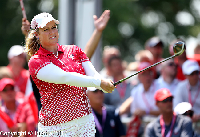 DES MOINES, IA - AUGUST 18: USA's Brittany Lincicome hits her tee shot on the 1st hole during her afternoon match at the 2017 Solheim Cup in Des Moines, IA. (Photo by Dave Eggen/Inertia)