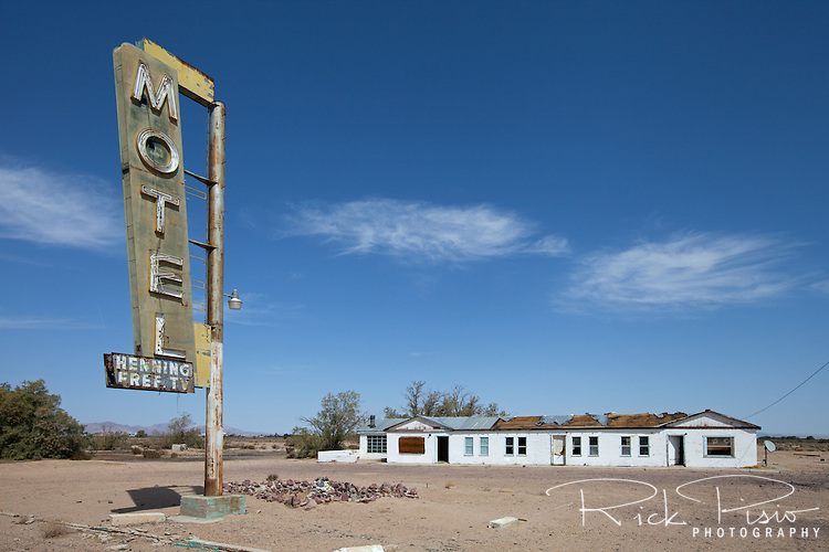 Abandoned Hennings Motel along Route 66 in Newberry Springs, California. Prior to the construction of Interstate 40 Route 66 was the primary road through the Mojave Desert.