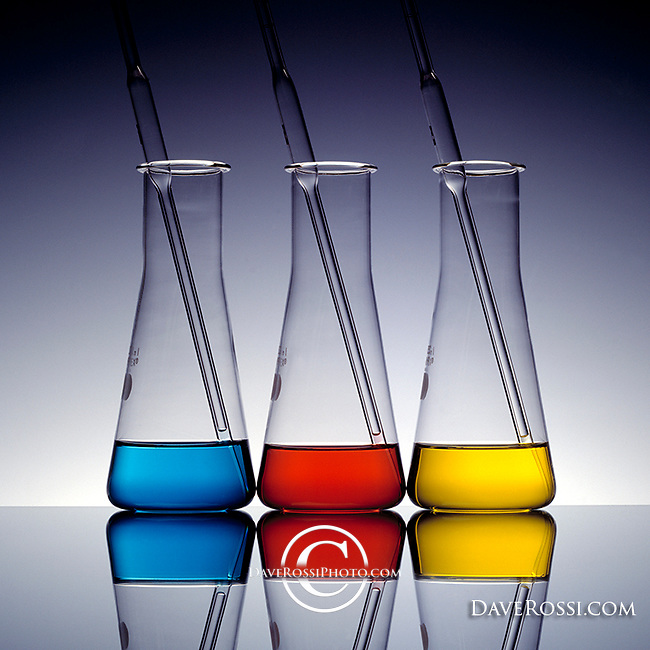Erlenmeyer flask art photo with translucent color and pipettes