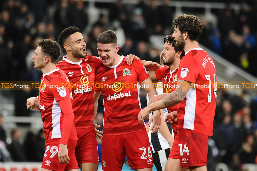 Blackburn Rovers players celebrate at the final whistle during Newcastle United vs Blackburn Rovers, Sky Bet EFL Championship Football at St. James' Park on 26th November 2016
