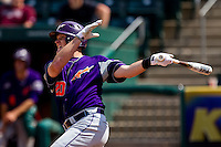 Chris Pearson (20) of the Evansville Purple Aces follows through his swing during a game against the Missouri State Bears at Hammons Field on May 12, 2012 in Springfield, Missouri. (David Welker/Four Seam Images).