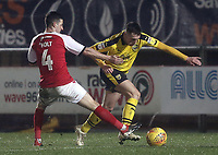 Oxford United's Gavin Whyte is tackled by Fleetwood Town's Jason Holt<br /> <br /> Photographer Rich Linley/CameraSport<br /> <br /> The EFL Sky Bet League One - Fleetwood Town v Oxford United - Saturday 12th January 2019 - Highbury Stadium - Fleetwood<br /> <br /> World Copyright &copy; 2019 CameraSport. All rights reserved. 43 Linden Ave. Countesthorpe. Leicester. England. LE8 5PG - Tel: +44 (0) 116 277 4147 - admin@camerasport.com - www.camerasport.com