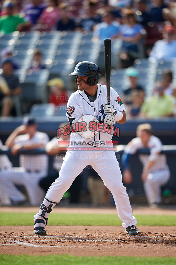Connecticut Tigers designated hitter Gresuan Silverio (13) at bat during a game against the Lowell Spinners on August 26, 2018 at Dodd Stadium in Norwich, Connecticut.  Connecticut defeated Lowell 11-3.  (Mike Janes/Four Seam Images)