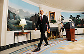 Washington, DC - November 12, 2009 -- United States President Barack Obama leaves the Diplomatic Reception Room after making a statement to the press on the economy at the White House, Thursday, November 12, 2009 in Washington, DC. .Credit: Olivier Douliery / Pool via CNP