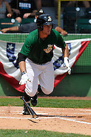 Brett Thomas #8 of the Clinton LumberKings runs to first base against the Kane County Cougars at Ashford University Field on July 6, 2014 in Clinton, Iowa. The LumberKings won 1-0.   (Dennis Hubbard/Four Seam Images)