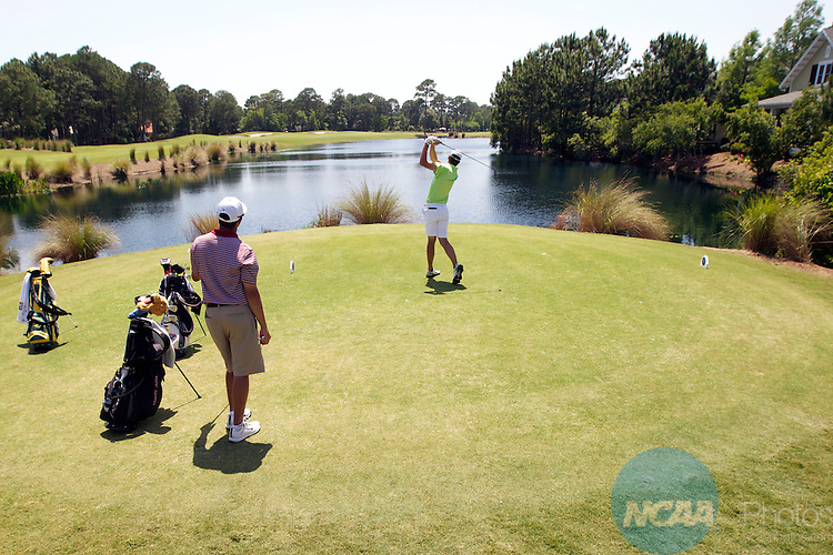 17 MAY 2013:  Ben Boyle of Methodist University tees off during the Division III Men's Golf Championship held at the Sandestin Golf and Beach Resort Raven Course in Destin, FL.  Jones shot a -3 to win the national title.  Mark Wallheiser/NCAA Photos