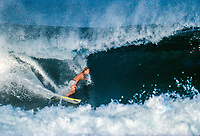 Mark Occhilupo (AUS) surfing Pipeline during a free surf session in preparation fro the running of the Pipeline Masters circa December 1989. Photo: Joliphotos