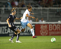 Nikki Marshall #17 of the Washington Freedom is beaten to the ball by Casey Nogueira #27 of the Chicago Red Stars during a WPS match at the Maryland Soccerplex, in Boyds Maryland on June 12 2010. The game ended in a 2-2 tie.