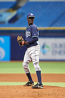 Tampa Bay Rays pitcher Sandy Brito (96) during an instructional league game against the Boston Red Sox on September 24, 2015 at Tropicana Field in St Petersburg, Florida.  (Mike Janes/Four Seam Images)