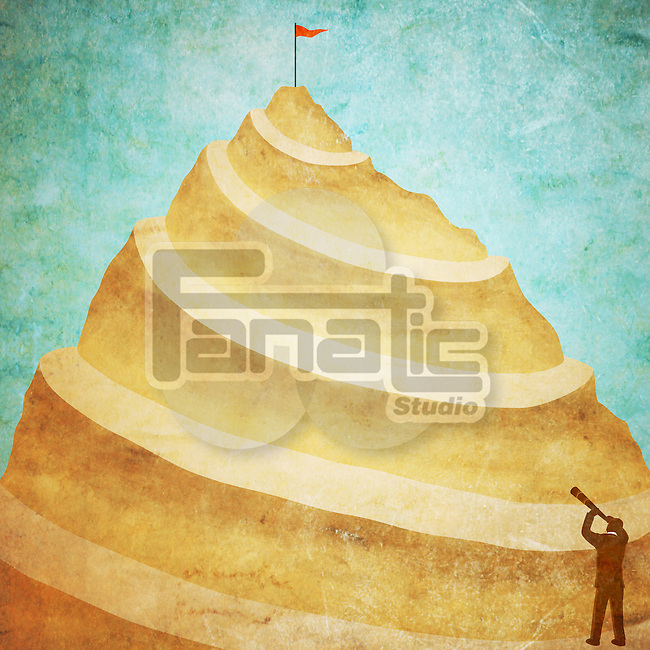 Illustrative image of man with binoculars looking at mountain peak depicting a desire to reach at top