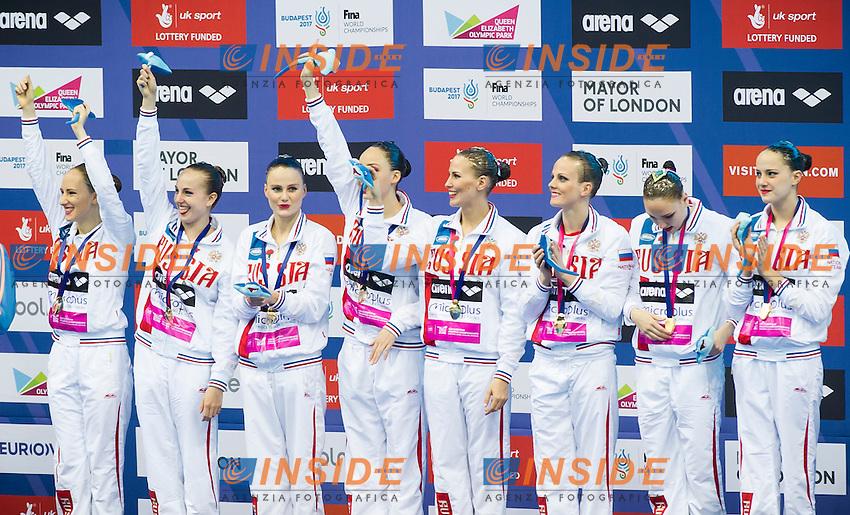 Team RUSSIA gold medal<br /> London, Queen Elizabeth II Olympic Park Pool <br /> LEN 2016 European Aquatics Elite Championships <br /> Synchro<br /> Team technical final <br /> Day 01 09-05-2016<br /> Photo Giorgio Perottino/Deepbluemedia/Insidefoto