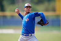 Toronto Blue Jays relief pitcher Juan Acosta (69) delivers a pitch during a Florida Instructional League game against the Pittsburgh Pirates on September 20, 2018 at the Englebert Complex in Dunedin, Florida.  (Mike Janes/Four Seam Images)