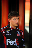 Feb 21, 2009; Fontana, CA, USA; NASCAR Sprint Cup Series driver Denny Hamlin during practice for the Auto Club 500 at Auto Club Speedway. Mandatory Credit: Mark J. Rebilas-