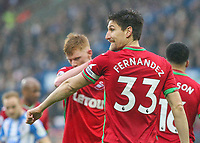 Swansea City's Federico Fernandez gestures in the closing stages of the game<br /> <br /> Photographer Alex Dodd/CameraSport<br /> <br /> The Premier League - Huddersfield Town v Swansea City - Saturday 10th March 2018 - John Smith's Stadium - Huddersfield<br /> <br /> World Copyright &copy; 2018 CameraSport. All rights reserved. 43 Linden Ave. Countesthorpe. Leicester. England. LE8 5PG - Tel: +44 (0) 116 277 4147 - admin@camerasport.com - www.camerasport.com