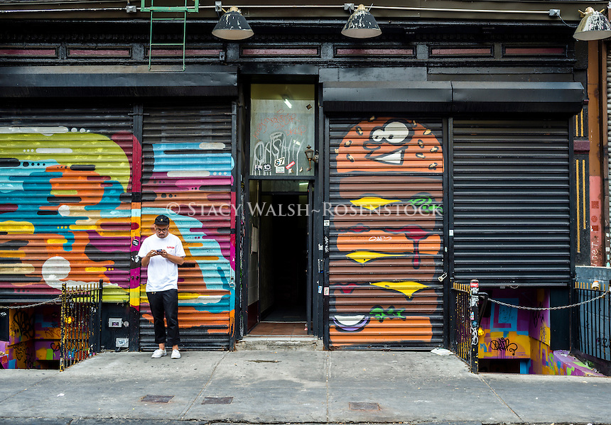 New York, NY - 30 August 2015 Painted security gates on the Ludlow Street music venue Leftfield