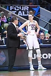 DALLAS, TX - MARCH 31: Head coach Geno Auriemma and Katie Lou Samuelson #33 of the Connecticut Huskies talk during the 2017 Women's Final Four at American Airlines Center on March 31, 2017 in Dallas, Texas. (Photo by Justin Tafoya/NCAA Photos via Getty Images)
