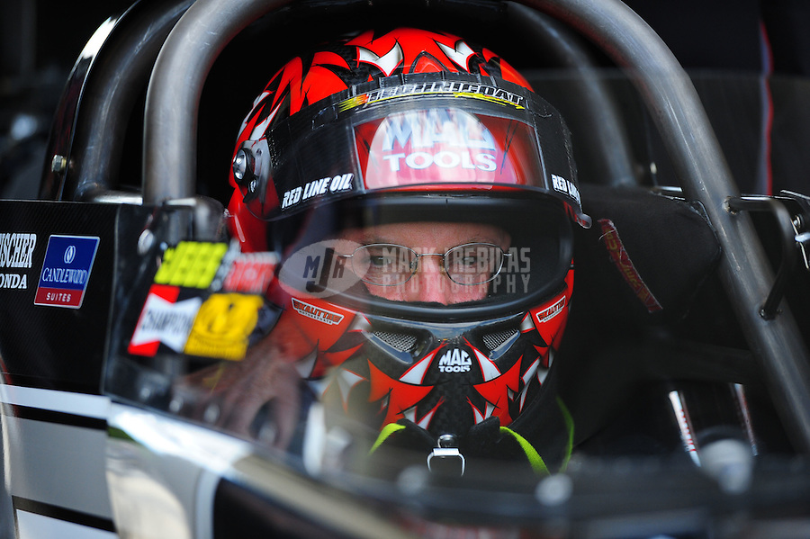 May 6, 2012; Commerce, GA, USA: NHRA top fuel dragster driver Doug Kalitta during the Southern Nationals at Atlanta Dragway. Mandatory Credit: Mark J. Rebilas-