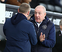 11th February 2020; Liberty Stadium, Swansea, Glamorgan, Wales; English Football League Championship, Swansea City versus Queens Park Rangers; Steve Cooper, Manager of Swansea City and Mark Warburton, Manager of Queens Park Rangers shake hands before kick off