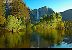 Yosemite Falls and the Merced River at Sunrise from Swinging Bridge, Yosemite National Park
