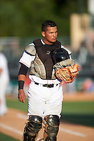 Jupiter Hammerheads catcher Rodrigo Vigil (27) during a game against the Palm Beach Cardinals on August 13, 2016 at Roger Dean Stadium in Jupiter, Florida.  Jupiter defeated Palm Beach 6-2.  (Mike Janes/Four Seam Images)