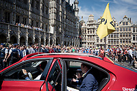 Tour boss Christian Prudhomme announcing the departure of the 2019 Tour de France over the radio at the race start in Brussels<br /> <br /> Stage 1: Brussels to Brussels (BEL/192km) 106th Tour de France 2019 (2.UWT)<br /> <br /> ©kramon