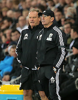 West Bromwich Albion manager Tony Pulis (R) during the Barclays Premier League match between Swansea City and West Bromwich Albion played at the Liberty Stadium, Swansea on December 26 2015