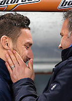 Calcio, ottavi di finale di Coppa Italia Tim: Roma vs Sampdoria. Roma, stadio Olimpico, 9 gennaio 2014.<br /> Sampdoria coach Sinisa Mihajlovic, of Serbia, greets AS Roma forward Francesco Totti, left, prior to the start of the Italy Cup round of sixteen football match between AS Roma and Sampdoria at Rome's Olympic stadium, 9 January 2014.<br /> UPDATE IMAGES PRESS/Isabella Bonotto
