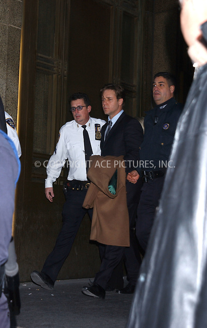 WWW.ACEPIXS.COM . . . . . ....November 18 2005, New York City....Austrailian actor Russell Crowe appeared in Manhattan Court today to face charges that he threw a telephone at a clerk at the trendy Soho-based Mercer Hotel on June 6 2005.....He has reportedly made a deal with the Manhattan DA's office to plead guilty to misdemeanor assault in order to avoid jail time or probation. Crowe spent a night in a police station in Manhattan back in June.....Please byline: KRISTIN CALLAHAN - ACE PICTURES.. . . . . . ..Ace Pictures, Inc:  ..Philip Vaughan (212) 243-8787 or (646) 769 0430..e-mail: info@acepixs.com..web: http://www.acepixs.com