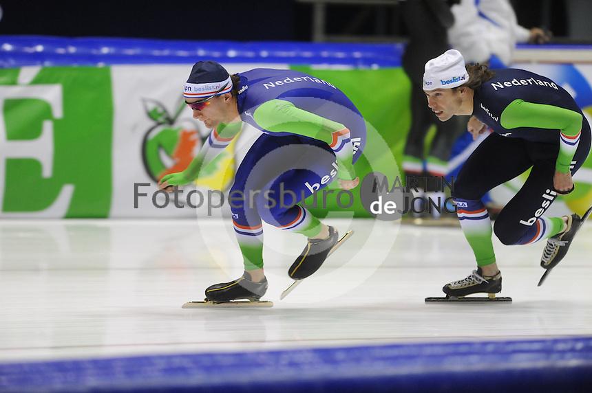 SCHAATSEN: HEERENVEEN: 11-12-2014, IJsstadion Thialf, International Speedskating training, Thomas Krol, Gerard van Velde, ©foto Martin de Jong