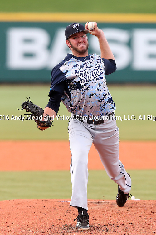 31 May 2016: Nova Southeastern's Alexander Kline. The Nova Southeastern University Sharks played the Lander University Bearcats in Game 8 of the 2016 NCAA Division II College World Series  at Coleman Field at the USA Baseball National Training Complex in Cary, North Carolina. Nova Southeastern won the game 12-1.