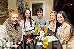 Enjoying the School of Music Evita fundraiser Table Quiz in the Brogue on Friday were l-r Gráinne O'Carroll, Kate Kelly, Cahal McLaughlin, Tracy O'Keefe and Clodagh Harrington
