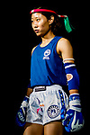 Kim Suyoung (Blue) of South Korea enters the ring prior the female muay 51KG division weight bout against Wan Lok Yan (Not in picture) of Hong Kong during the East Asian Muaythai Championships 2017 at the Queen Elizabeth Stadium on 12 August 2017, in Hong Kong, China. Photo by Yu Chun Christopher Wong / Power Sport Images