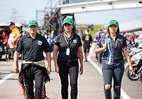 Sep 29, 2019; Madison, IL, USA; NHRA top fuel driver Mike Salinas (left) with wife Monica Salinas (center) and daughter Jianna Salinas during the Midwest Nationals at World Wide Technology Raceway. Mandatory Credit: Mark J. Rebilas-USA TODAY Sports
