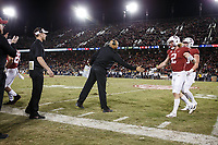 Stanford, CA - November 18, 2017: David Shaw, head coach, shakes hand with Trenton Irwin during the Stanford vs California football game Saturday night at Stanford Stadium.<br /> <br /> The Stanford Cardinal defeated the California Golden Bears 17 to 14.