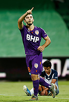 1st February 2020; HBF Park, Perth, Western Australia, Australia; A League Football, Perth Glory versus Melbourne Victory; Nicholas D'Agostino of the Perth Glory celebrates his 90th minute goal to equalize at 2-2