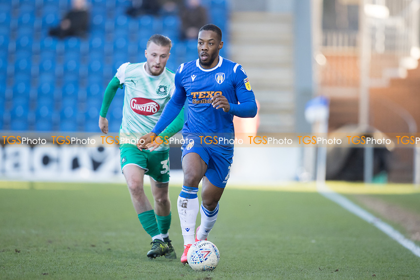 Ryan Jackson of Colchester United under pressure from George Cooper of Plymouth Argyle during Colchester United vs Plymouth Argyle, Sky Bet EFL League 2 Football at the JobServe Community Stadium on 8th February 2020