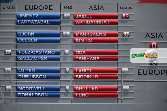Scoreboard showing the fate of Team Europe during the second day Foursome matches at the 2014 EurAsia Cup presented by DRB-Hicom, at the Glenmarie Golf & Country Club, Kuala Lumpur, Malaysia. Picture:  David Lloyd / www.golffile.ie