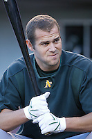 Bobby Crosby of the Oakland Athletics during batting practice before a game from the 2007 season at Angel Stadium in Anaheim, California. (Larry Goren/Four Seam Images)