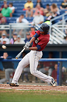 Mahoning Valley Scrappers right fielder Will Benson (7) hits a home run during a game against the Batavia Muckdogs on August 18, 2017 at Dwyer Stadium in Batavia, New York.  Mahoning Valley defeated Batavia 8-2.  (Mike Janes/Four Seam Images)