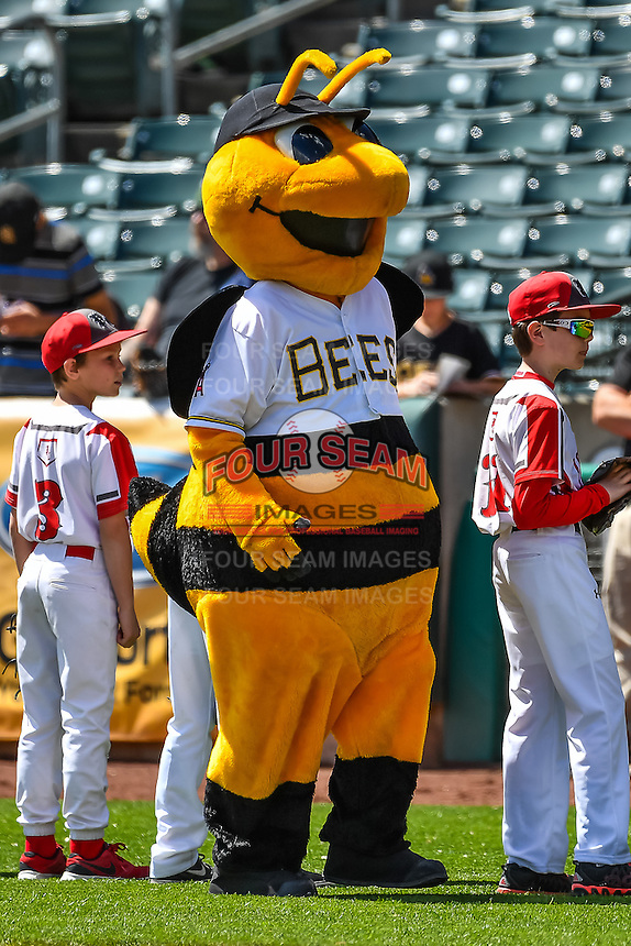 """Bumble"" the Salt Lake Bees mascot  before the game against the El Paso Chihuahuas in Pacific Coast League action at Smith's Ballpark on April 24, 2016 in Salt Lake City, Utah. This was Game 1 of a double-header.  El Paso defeated Salt Lake 7-0. (Stephen Smith/Four Seam Images)"
