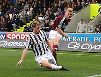 David van Zanten blocking Andrew Driver in the St Mirren v Heart of Midlothian Clydesdale Bank Scottish Premier League match played at St Mirren Park, Paisley on 15.9.12.