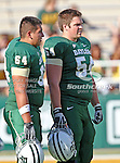 Baylor Bears offensive linesman Alex Bonilla (64) and Baylor Bears center Stefan Huber (54) in action during the game between the Rice Owls and the Baylor Bears at the Floyd Casey Stadium in Waco, Texas. Baylor defeats Rice 56 to 31..