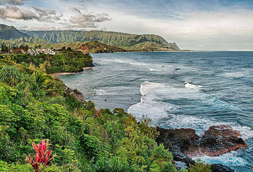 View overlooking part of Hanalei Bay, on the north coast of Kauai, Hawaii